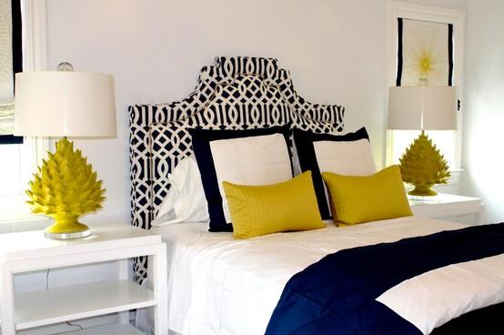 decoracion mostaza y azul