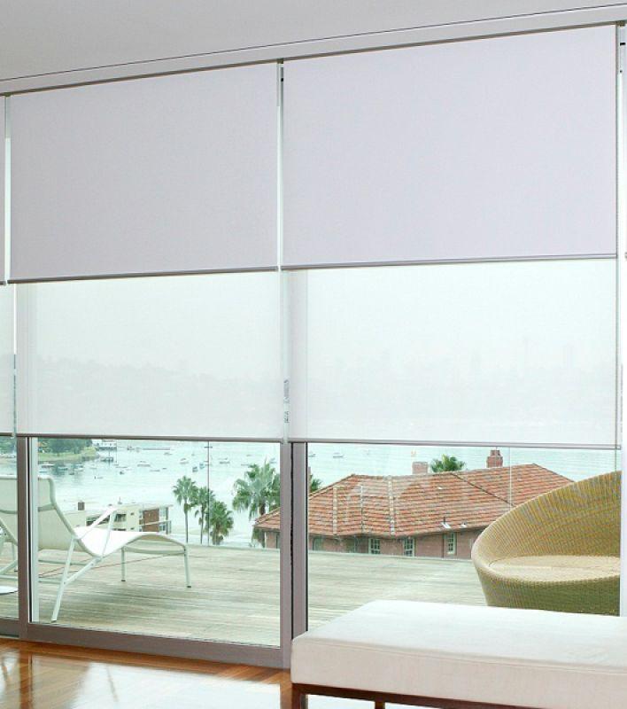 Estores dobles tejido opaco y transl cido lino - Estores exteriores enrollables ...